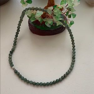 Natural green jade stone necklace